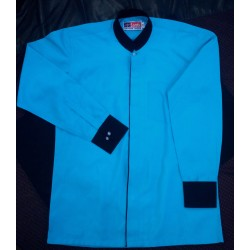 Shirt Formal Men's Stand Collar Office Wear Premium Turquoise Blue Colour With Black Trimming