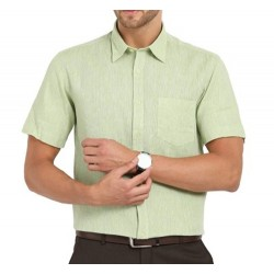 SHIRT HALF SLEEVE PISTA GREEN COLOR BLENDED 2X2 FABRIC, MILL MADE