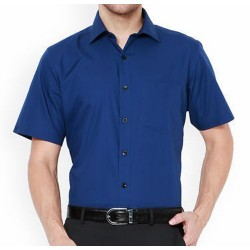 SHIRT HALF SLEEVE ROYAL BLUE COLOR BLENDED 2X2 FABRIC, MILL MADE