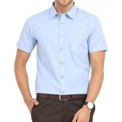 SHIRT HALF SLEEVE SKY BLUE COLOR BLENDED 2X2 FABRIC, MILL MADE