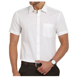 SHIRT HALF SLEEVE WHITE COLOR BLENDED 2X2 FABRIC, MILL MADE