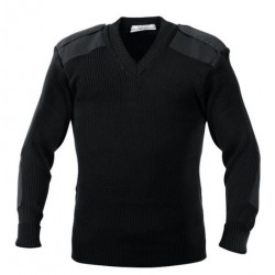 SWEATER SECURITY  PULL OVER V NECK WOOLEN BLACK CASH MELON WOOL HEAVY GSM 425 GMS WEIGHT PER PIECE