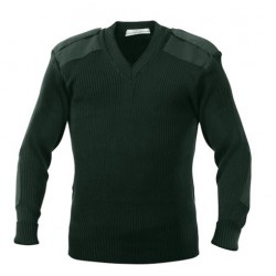 SWEATER SECURITY  PULL OVER V NECK WOOLEN BOTTLE GREEN CASH MELON WOOL HEAVY GSM 425 GMS WEIGHT PER PIECE