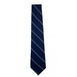 NECK TIE NAVY BLUE BASE WITH GREY STRIPE FULL LENGTH