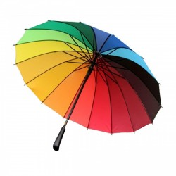 "UMBRELLA LARGE SIZE TO ACCOMMODATE TWO PEOPLE , ESCORTING UMBRELLA , MULTI COLOR RAINBOW UMBRELLA SIZE 29"" X 58"". LENGTH 39"""