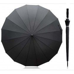 JUMBO SIZE UMBRELLA SOFT HANDLE SPORTY BLACK WITH SILVER INSIDE.