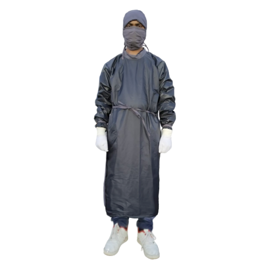 SURGEON GOWN GREY FULL FRONT COVERING AND SLEEVE WATER REPELLENTS FABRIC