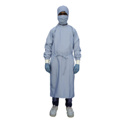 SURGEON GOWN LIGHT BLUE TERRY COTTON HEAVY DUTY FABRIC