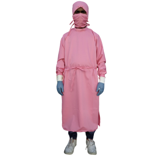 SURGEON GOWN PINK TERRY COTTON HEAVY DUTY FABRIC