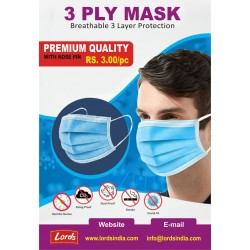 MASK 3 PLY PREMIUM QUALITY WITH NOSE PIN. BEST FOR DOCTORS, HOSPITAL AND REGULAR USE.