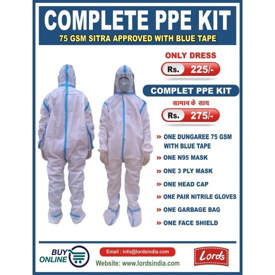 COMPLETE PPE KIT 75 GSM SITRA APPROVED WITH BLUE TAPE