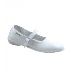 WHITE BELLE BELTED LADY SHOES