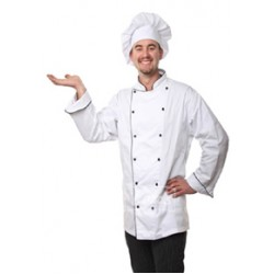 Chef Coat Executive Chef Wear White Double Breasted Cook Coat with Black Piping & Black Mushroom Button