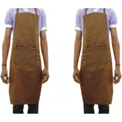 APRON-COOK APRON-BIB APRON-KITCHEN APRON-UNISEX APRON-CHEF APRON- GERMAN MUSTARD & BLACK CHECK POLYESTER FABRIC APRON- BUY ONE GET TWO