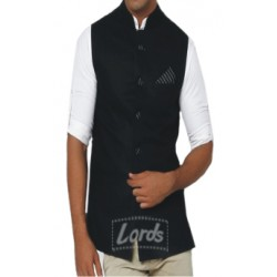 Men's Black Sleeveless Nehru Jacket - Ethnic Wear