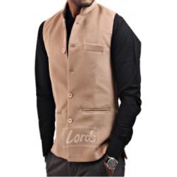 Ethnic Wear Men's Sleeveless Nehru Jacket Fawn Color