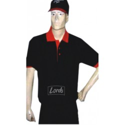 Men's Half Sleeve T-Shirt with Red Collar and Cuff - Polyester Cotton Blended