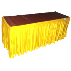 "FRILL TABLE SKIRTING SIZE 13' X 30"" HEAVY LYCRA FRILLS READY TO FIX ON BANQUET TABLE"