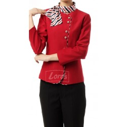 BLAZER WOMEN'S SUIT - RED BLAZER  | BLACK TROUSER & NECK STOLE.