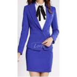 SUIT WOMEN'S SUIT ROYAL BLAZER, SKIRT ROYAL BLUE SHIRT & BOW TIE